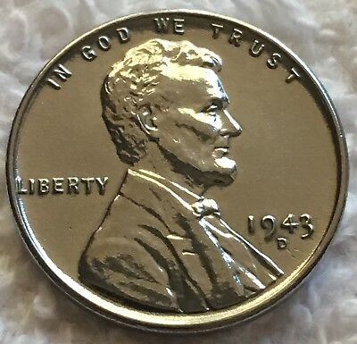 1943-D STEEL LINCOLN WHEAT CENT FULL LINES BU UNC FROM OBW ROLL WOW LOOK