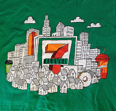 Nos Rare 7 Eleven Good Neighbor T Shirt Pop Art Skyline Size Small New Vintage
