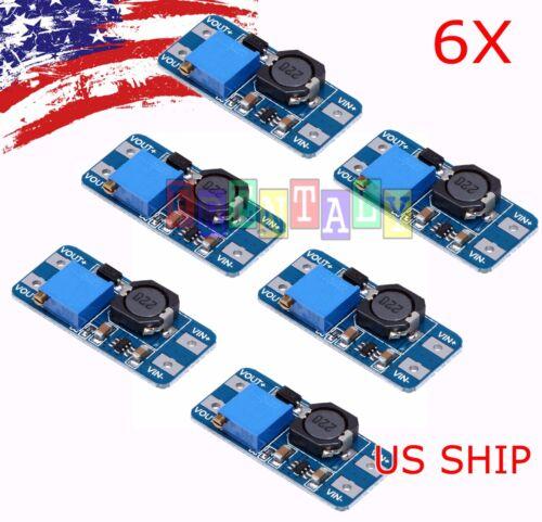 6pcs MT3608 DC 2A Step Up Power Booster Module 2v-24v Boost Converter Arduino US