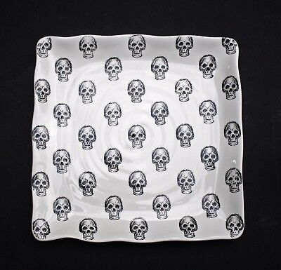 NEW MAXCERA HALLOWEEN SKULLS *SQUARE SERVING PLATE PLATTER* GOTHIC HOME DECOR - Halloween Platters