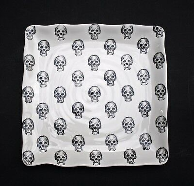 NEW MAXCERA HALLOWEEN SKULLS *SQUARE SERVING PLATE PLATTER* GOTHIC HOME DECOR - Serving Platters Halloween