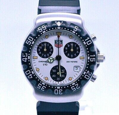 Men's Tag Heuer Vintage Formula One White Chronograph 38mm Model CA1212-R0 Watch