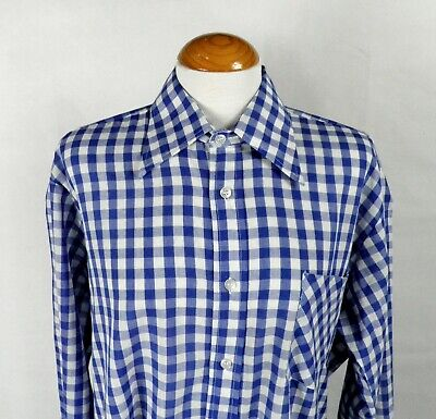 1970s Mens Shirt Styles – Vintage 70s Shirts for Guys 1970s Blue and White Check Gingham Dagger Collar Shirt by Bugelfri Size XL $28.19 AT vintagedancer.com