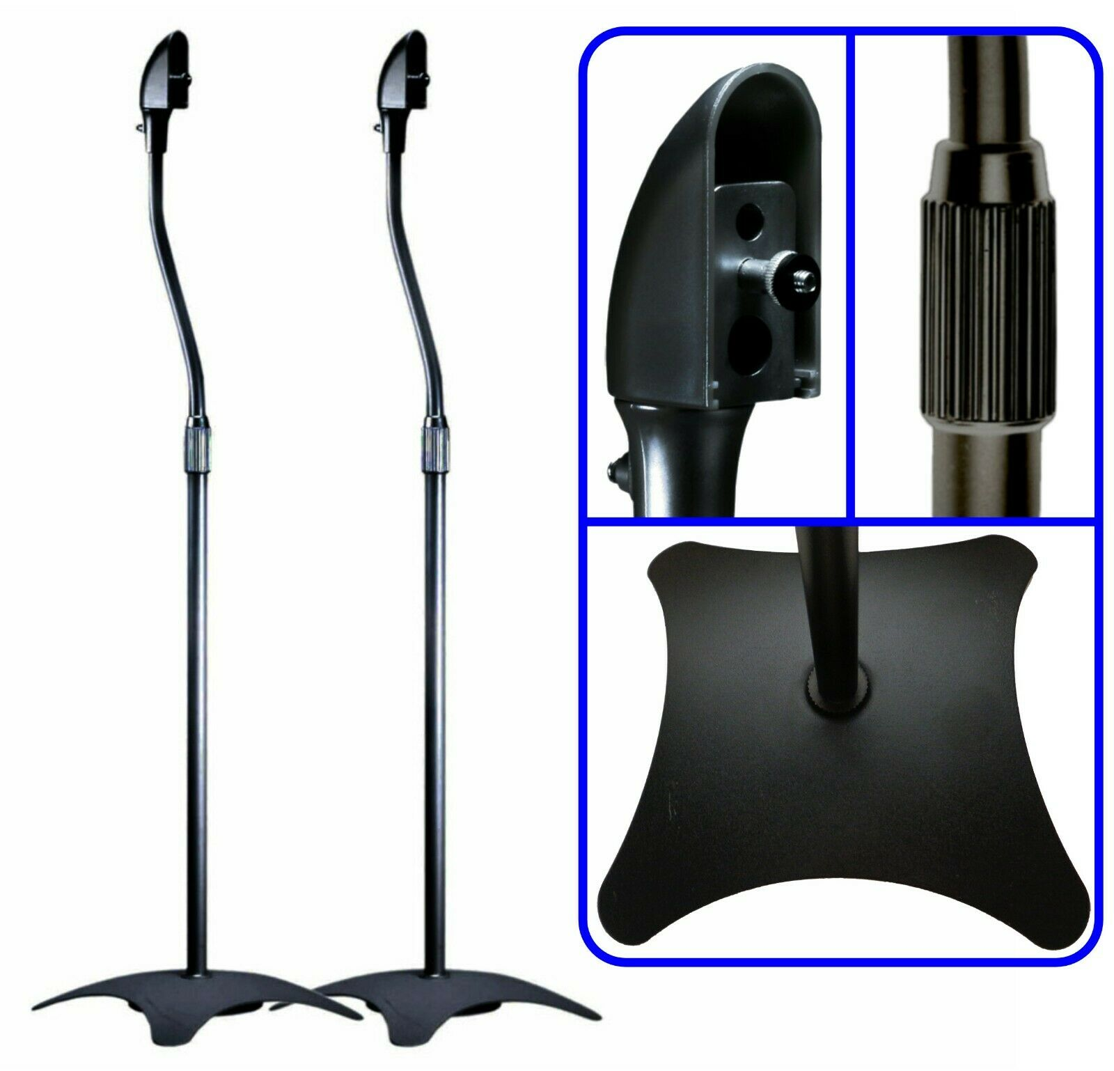2/Two Black Floor Speaker Stands for Home Theater Surround S