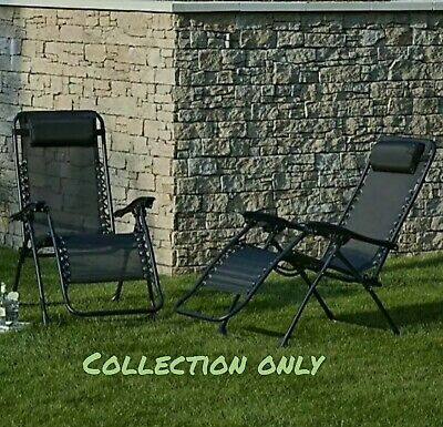 Set of 2 Black Zero Gravity Reclining Sun Lounger Garden New COLLECTION ONLY