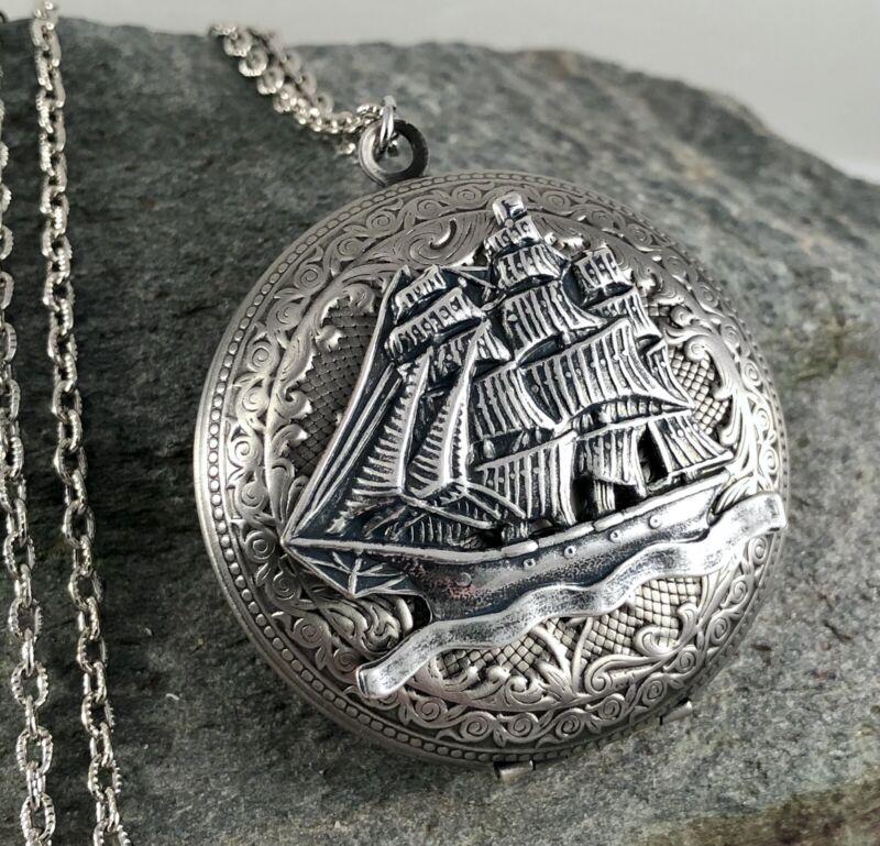 Large GALLEON PIRATE SHIP Locket Necklace, Antique Silver plt, Pill Stash Box