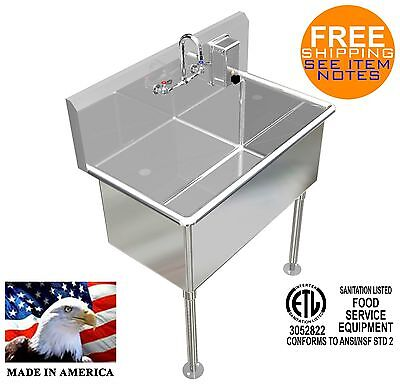 Hand Sink 36x20x15deep Tub Heavy Duty Stainless Steel Basin Wsoap Dispenser