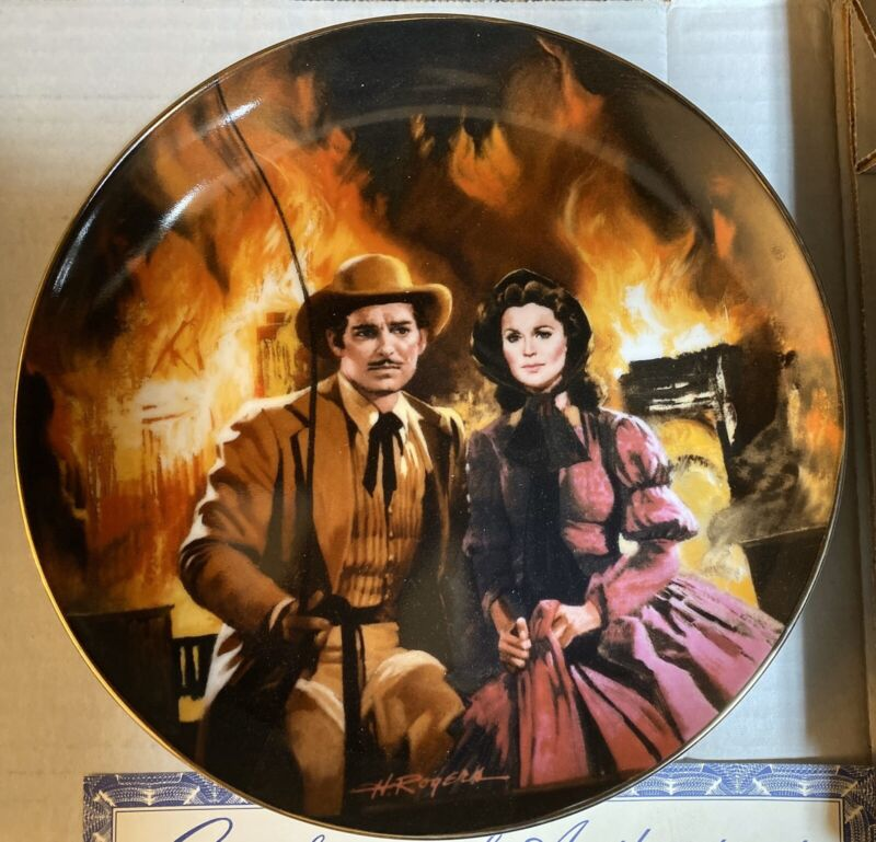 """Gone With the Wind """"Burning of Atlanta"""" Collector Plate W. S. George Fine China"""