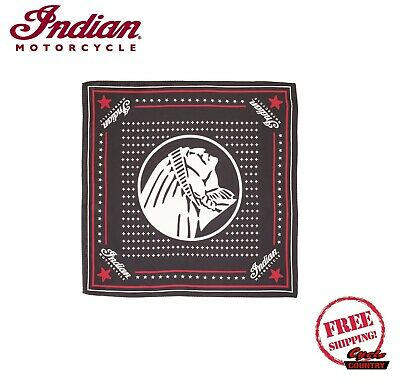 GENUINE INDIAN MOTORCYCLE BRAND HEADDRESS BANDANA 100% SILK BLACK SCOUT CHIEF