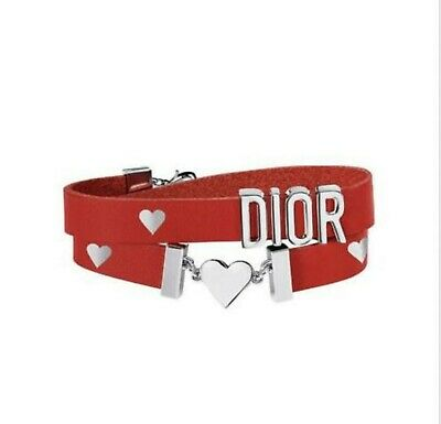 2019 Christian Dior Double Wrapped Red Leather Heart Bracelet NEW IN BOX Christian Dior Ruby Bracelets