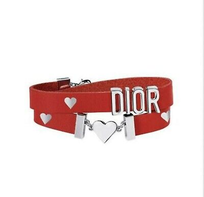 2019 Christian Dior Double Wrapped Red Leather Heart Bracelet NEW IN BOX Dior Red Jewelry Box
