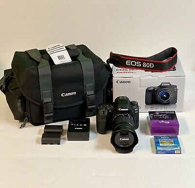 Canon EOS 80D 24.2MP Digital SLR Camera Kit with EF-S 18-55mm Lens & Gadget Bag