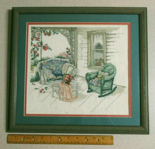 Completed Finished  Cross Stitch Paula Vaughan The Porch Swing - Prof. Framed