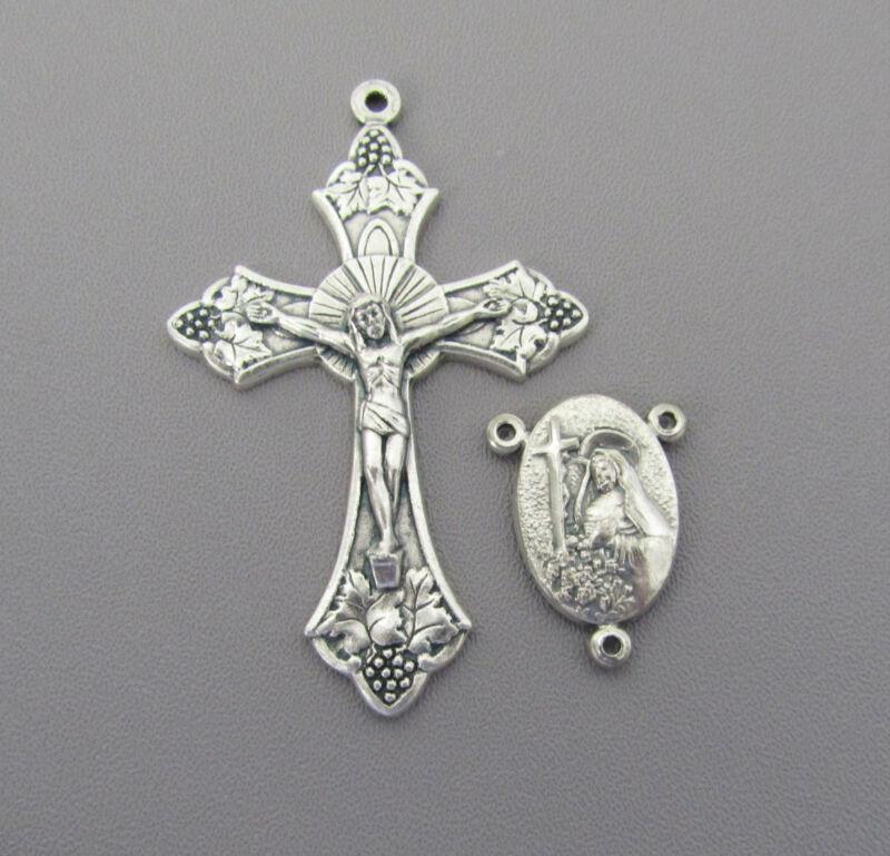 Rosary CENTER & CRUCIFIX Set ITALY Saint St. RITA Centerpiece finish SILVER