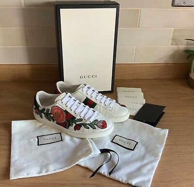 Gucci Ace trainers with floral embroidered design  Size 38/uk 5 fits 6 perfectly