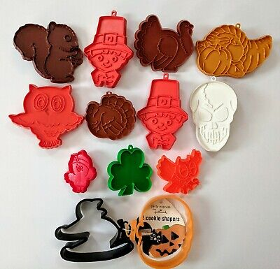 13 Vintage Hallmark Holiday Cookie Cutters Halloween Thanksgiving Clover Chick