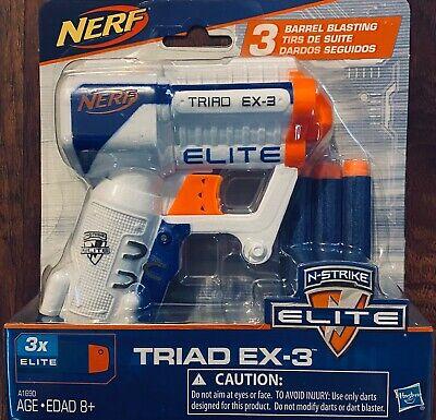 NERF N-STRIKE ELITE TRIAD EX-3 BLASTER Kids Dart Gun Toy