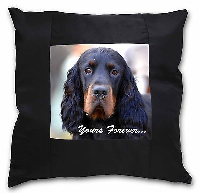 Gordon Setter 'Yours Forever' Black Border Satin Scatter Cushion C, AD-GOR2y-CSB
