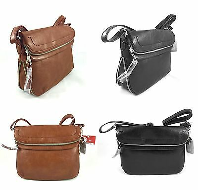 New Relic By Fossil Cora Ew Flap Crossbody Bag In Brown Or Black Faux Leather