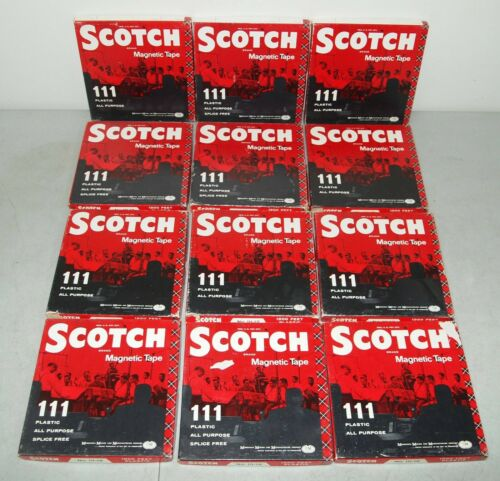"""Used Vtg 12- Blank SCOTCH """"Reel To Reel Tapes"""" LOT No.11-12 (Prerecorded)"""