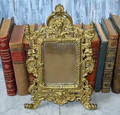 Antique French Gilt Bronze Finish Iron Stand Mirror Lion Griffin Gargoyle -