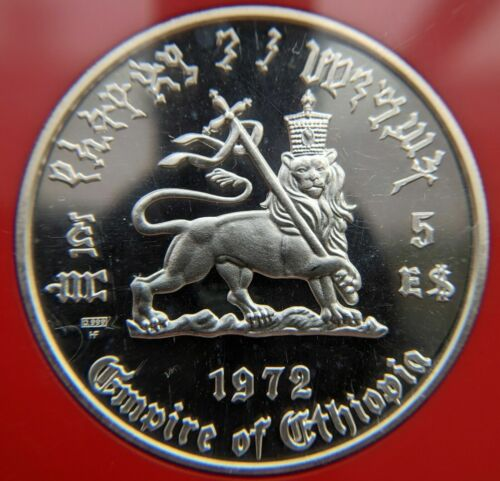 1972 Ethiopia Haile Selassie 5 Dollar Silver Proof Coin Crowned Lion of Judah