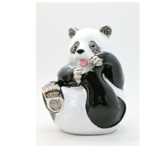 Bejeweled Enameled Animal Trinket Box/Figurine With Rhinestones-Big Panda