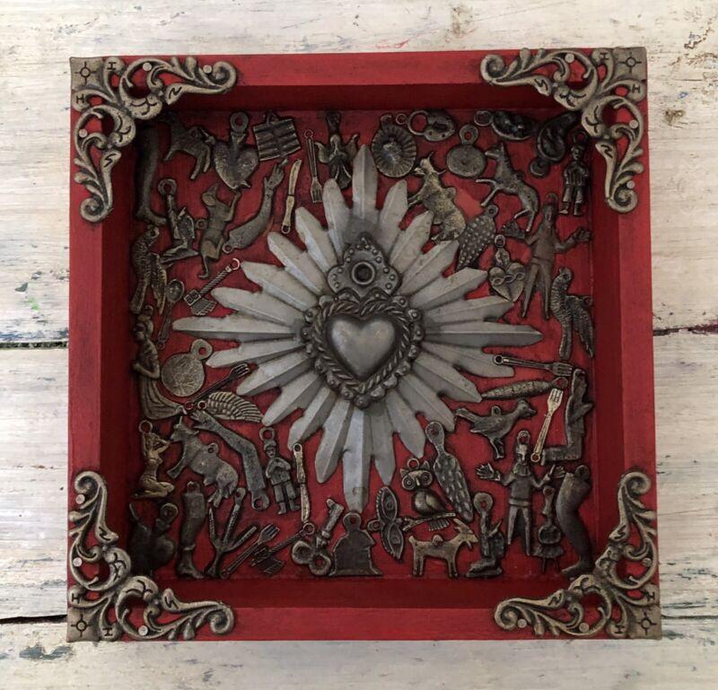 Mexican MILAGROS HEART Frame, ExVotos Sacred Heart Shadowbox, Red