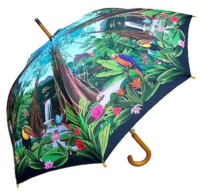 "48"" Rainforest Parrots Auto-Open Umbrella  - RainStoppers Rain/Sun UV Fashion"
