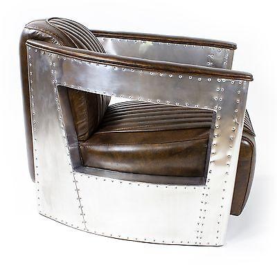 Retro Vintage Echtleder Sessel Alu Design Loft Ledersessel Clubsessel Braun NEU
