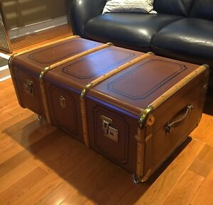 Antique Trunk - English Bentwood Steamer - great Coffee Table