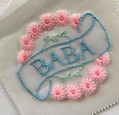 "Vintage Baby Motif - Pink Flower French Baby Motif - embroided ""BABA"" - 1950's comprar usado  Enviando para Brazil"