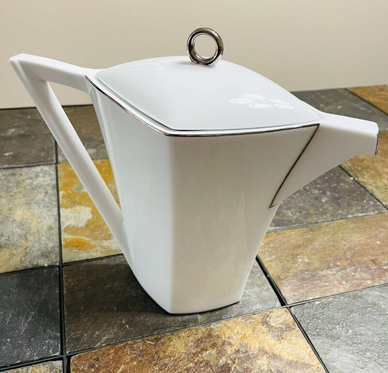 SASAKI Japan VTG '87 Diamond Shape White Teapot Silver Trim Art Deco Artist Name