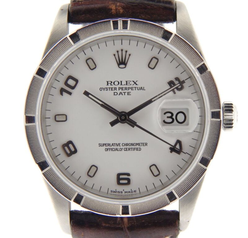 Mens Rolex Date Stainless Steel Watch White Arabic Dial Brown Band Strap 15210