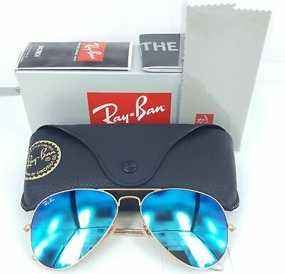 NEW Ray Ban Aviator Sunglasses RB  3026 112/17 BLUE MIRROR  LENS LARGE SIZE (Ray Ban Aviator Size 62mm)