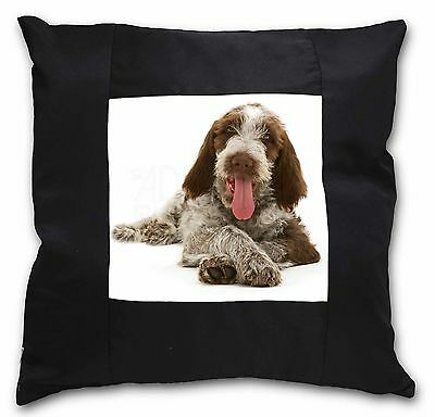 Italian Spinone Dog Black Border Satin Scatter Cushion Christmas Gif, AD-SP2-CSB