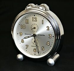 VINTAGE ART DECO DESK ALARM CLOCK FROM BAYARD STENTOR  REPETITION FRANCE CHROME