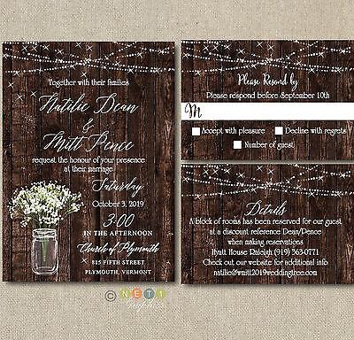 100 Personalized Rustic Wedding Invitations mason jar with Envelopes ](Wedding Invitations Rustic)