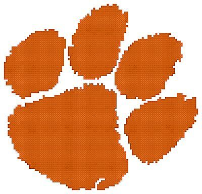Tiger Cross Stitch Pattern - Counted Cross Stitch Pattern, Clemson Tigers Logo - Free US Shipping