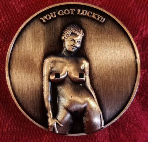 """NUDIE """"YOU GOT LUCKY"""" CHALLENGE COIN CARD MARKER PROTECTOR 30"""