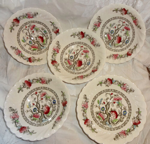 "Myott Staffordshire Indian Tree Lot of 5 Cereal Bowls 6-3/8"" Swirl shape"