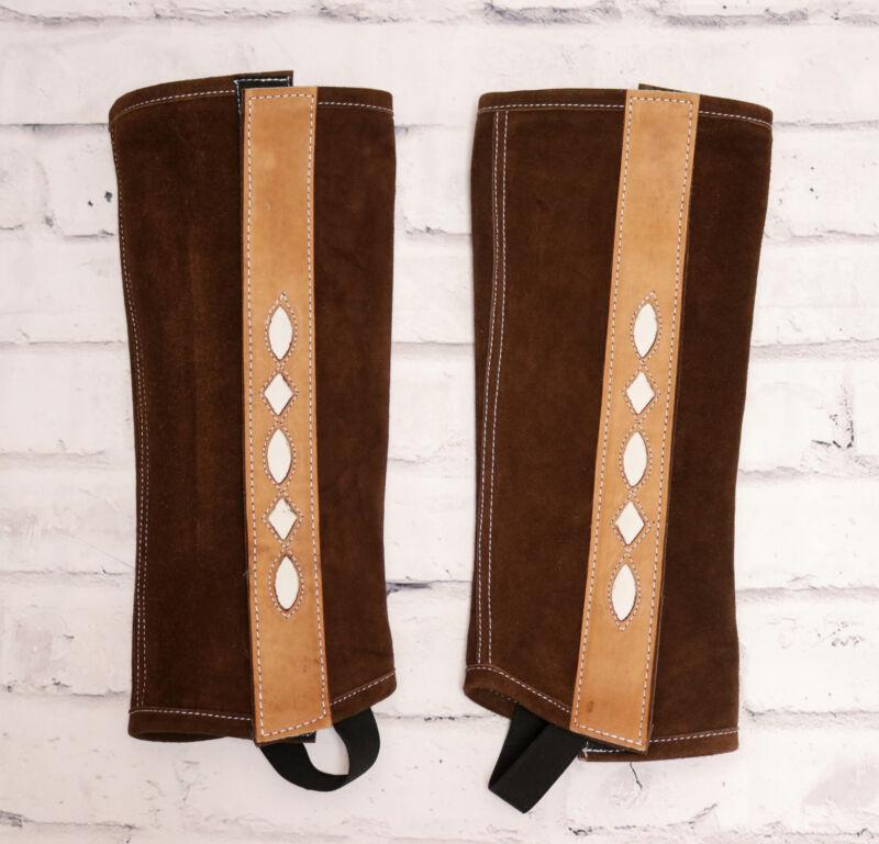Leather Suede (M) Polainas Charras Half Chaps Brown