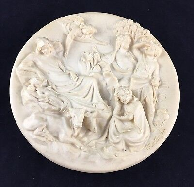 ITALY ALABASTER PLAQUE WITH ANGELS  #75PL23