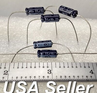 Lot Of 5 22uf 16v Nichicon Se Series Axial Electrolytic Capacitors - Usa Ship