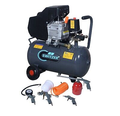 SwitZer Air Compressor 24L Litre 2HP 8 BAR 230V With Wheel 5PCS Kits AC009 Grey