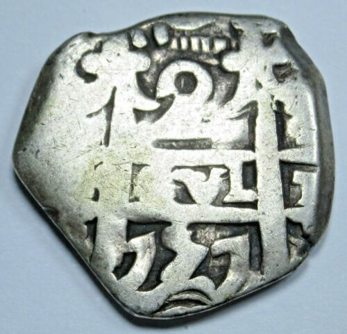 1757 Spanish Bolivia Silver 2 Reales Two Bits Antique Colonial Pirate Cob Coin