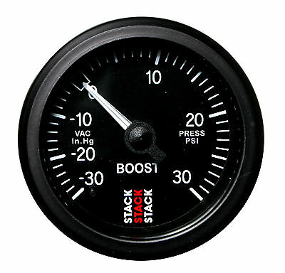 Stack Mechanical Turbo Boost Pressure Gauge -30 To +30 Psi Black Face 52mm 3112