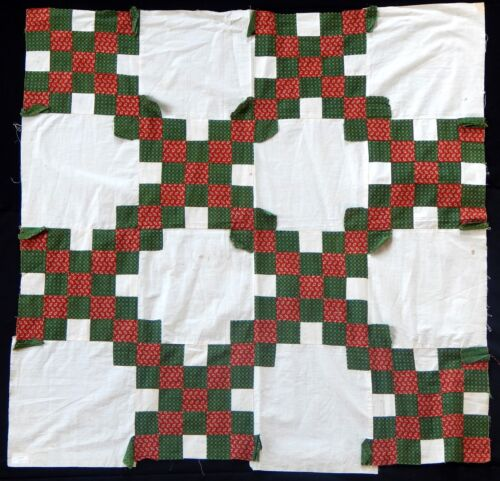 Antique 1850 Double Irish Chain Small Quilt Top