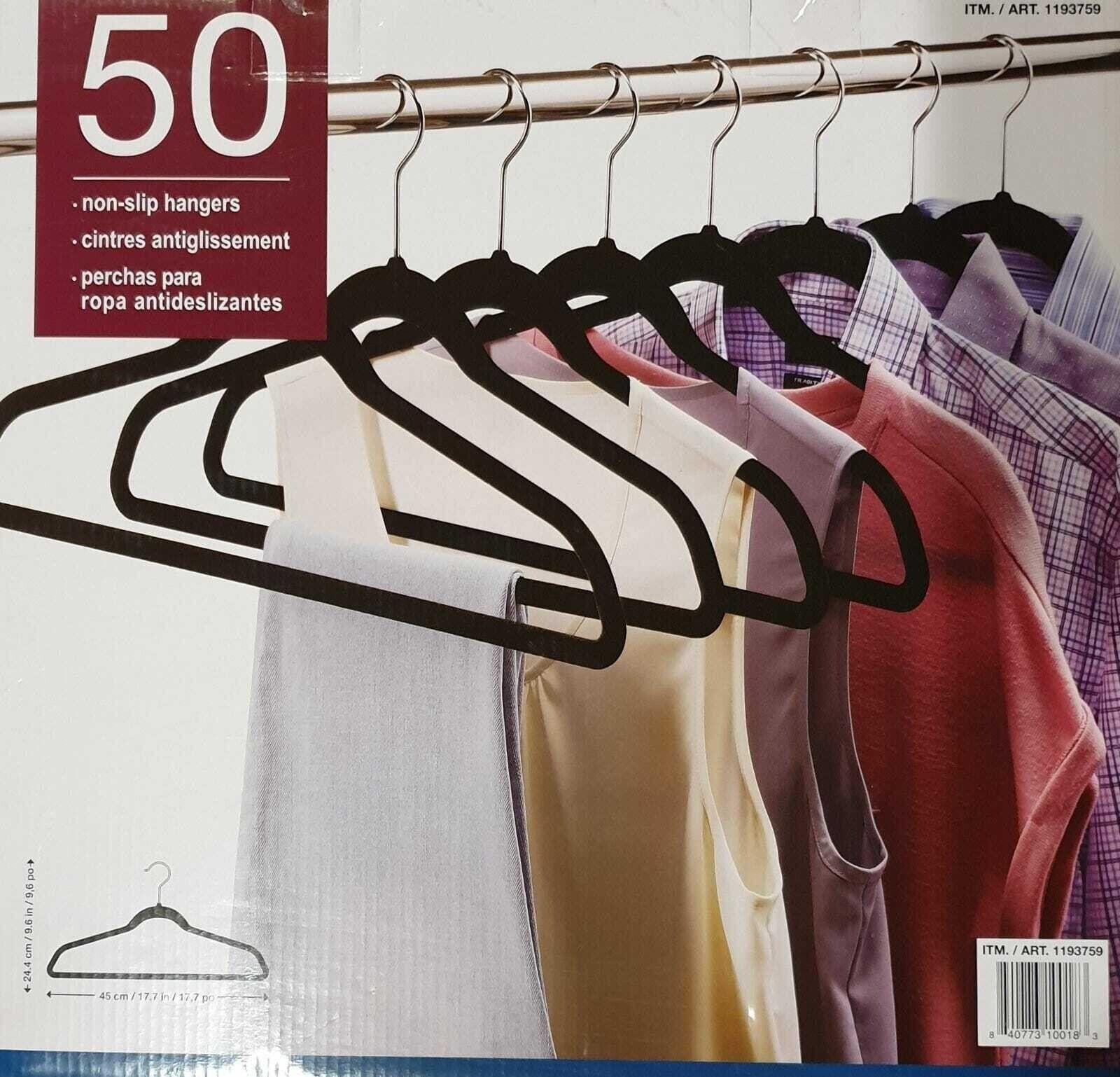 50 Black Velvet Clothes Coat Hangers Ultra Thin Non Slip Space Saving Free Post Ebay