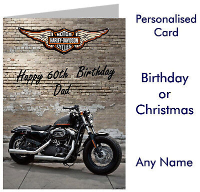 Personalised Harley Davidson Birthday or Christmas Card any name biker motorbike - Harley Davidson Birthday